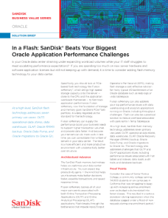 In a Flash: SanDisk<sup>®</sup>  Beats Your Biggest Oracle Application Performance Challenges